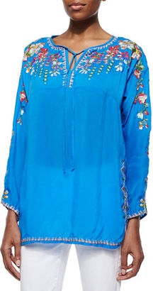 Johnny Was Vanessa Georgette Embroidered Tunic, Plus Size $240 thestylecure.com
