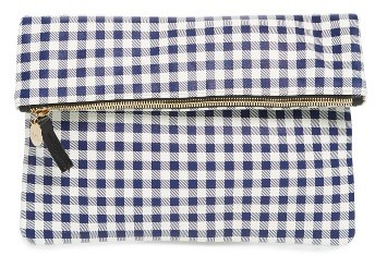 Clare Vivier Gingham Leather Foldover Clutch - Blue