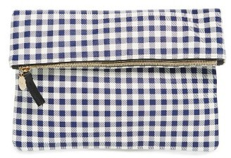 Clare V. Gingham Leather Foldover Clutch - Blue $235 thestylecure.com