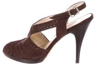 Oscar de la Renta Suede Slingback Sandals
