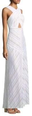 BCBGMAXAZRIA Genelle Lace Halter Gown