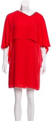 Halston Cape Sleeve Mini Dress
