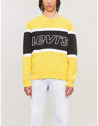 Levi's Embroidered-logo striped cotton-jersey sweatshirt
