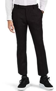 Alexander McQueen Men's Pinstriped Wool Flared Crop Trousers - Black