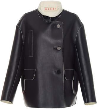 Marni Oversized Leather Jacket With Cashmere Collar