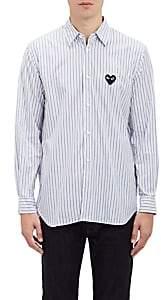 Comme des Garcons Men's Heart Patch Striped Shirt - Stripe