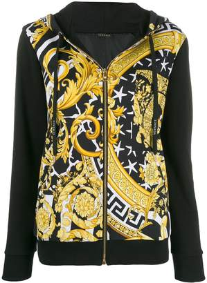 Versace printed zip-front hoodie