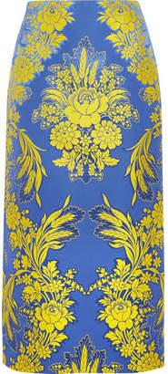 Gucci Floral-jacquard Midi Skirt - Blue