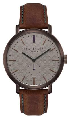 Ted Baker Trent Leather Strap Watch, 44mm