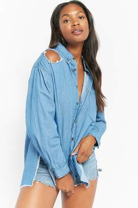 Forever 21 Distressed Chambray Tunic