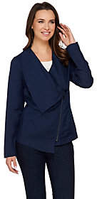 Halston H by Draped Zip Front Linen BlendBlazer