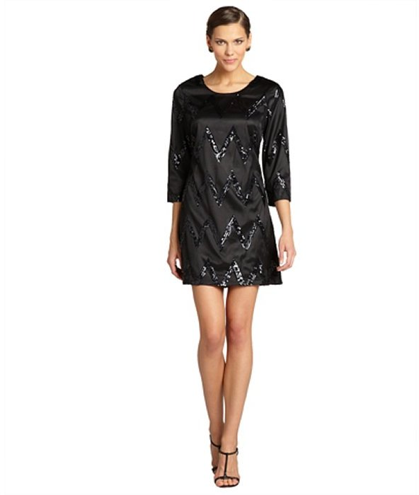Julie Brown JB by black and gunmetal sequin 'Maggie' long sleeve shift dress