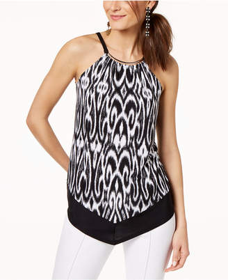 INC International Concepts I.N.C. Hardware-Neck Printed Halter Top, Created for Macy's
