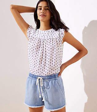 LOFT Petite Frayed Cotton Linen Drawstring Shorts