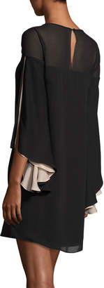 Halston High-Neck Flowy-Sleeve Chiffon Cocktail Dress