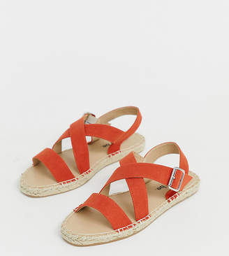 Simply Be Wide Fit Simply Be wide fit cross strap espadrille sandals in red