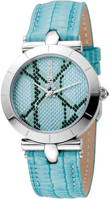 Just Cavalli 34mm Animal Devore Leather Watch, Ice Blue