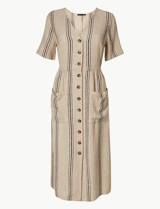 Marks and Spencer Linen Rich Striped Waisted Midi Dress
