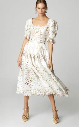 Dolce & Gabbana Floral-Embroidered Midi Dress