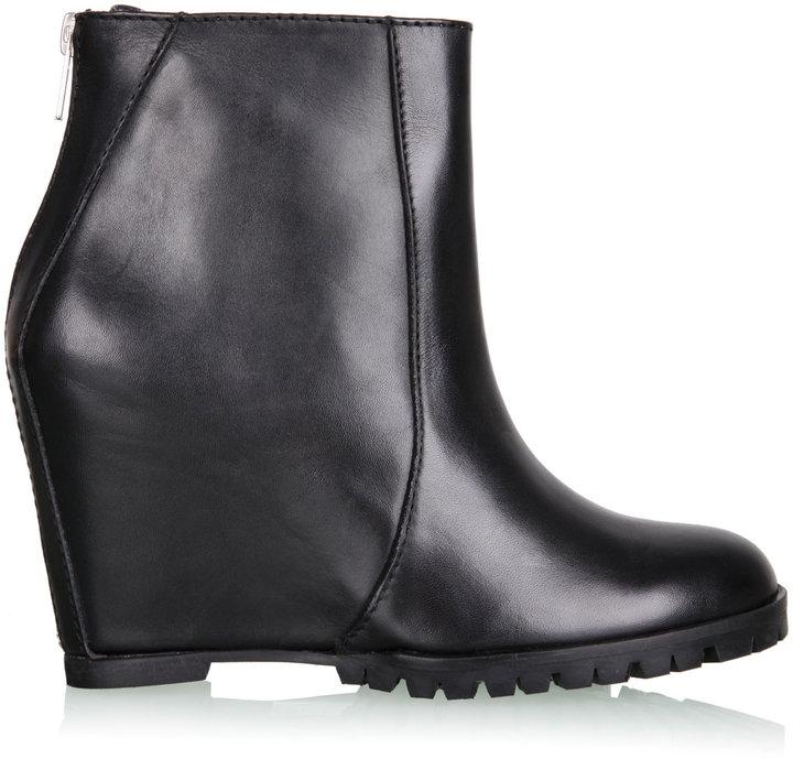 Mini Market Black Zipper Wedge Ankle Boot