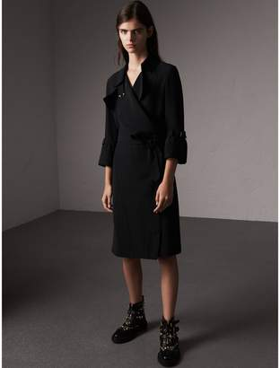 Burberry Silk Georgette Trench Wrap Dress