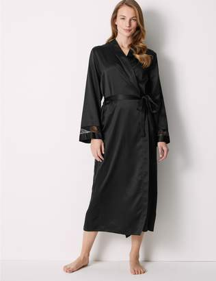 Marks and Spencer Long Satin Wrap Dressing Gown with Belt