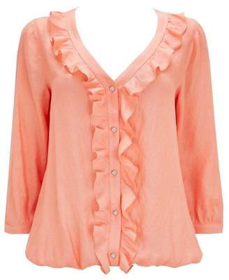 Wallis Coral Ruffle Detail Blouse