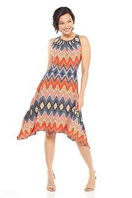 London Times Women's Sleeveless Pleat Neck Hanky Hem Dress
