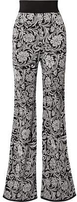 Balmain Jacquard-knit Flared Pants - Black