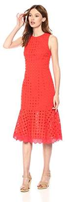 Donna Morgan Women's Sleeveless Eyelet Drop-Waist Dress