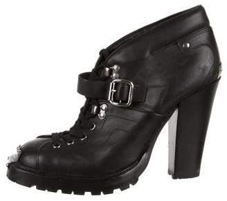 Miu Miu Leather Round-Toe Booties