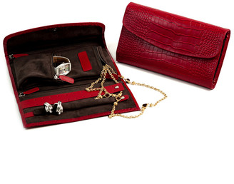Bey-Berk Croco Leather Multi-Compartment Jewelry Clutch