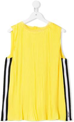 DKNY TEEN pleated side stripe blouse