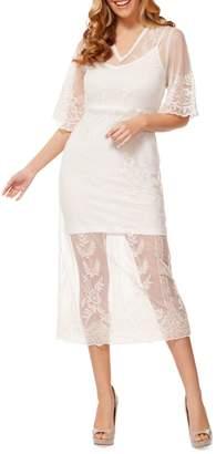 Dex Embroidered Lace Midi Dress