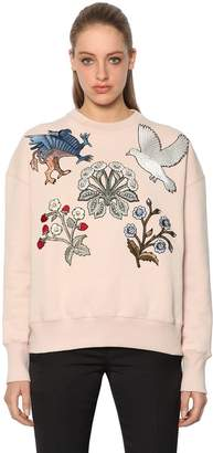 Alexander McQueen Cotton Sweatshirt W/ Embroidered Patches