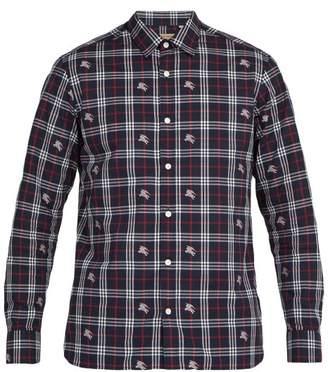 Burberry Edward Fil CoupA Checked Cotton Shirt - Mens - Blue Multi