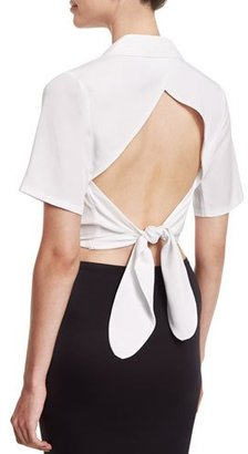 Kendall + Kylie Cropped Tie-Back Wrap Blouse, White $980 thestylecure.com