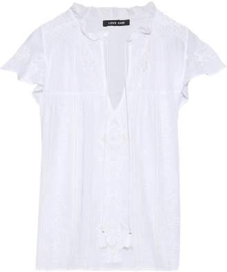 Love Sam Ruffled Embroidered Cotton-gauze Blouse