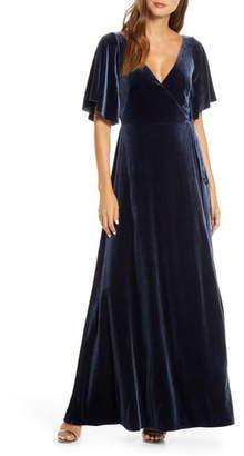 Jenny Yoo Marin Flutter Sleeve Velvet Faux Wrap Evening Gown