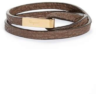 Salvatore Ferragamo Pelle Shark Leather Wrap Bracelet
