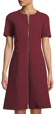 Lafayette 148 New York Sonya Short-Sleeve Zip-Front Wool Crepe Dress