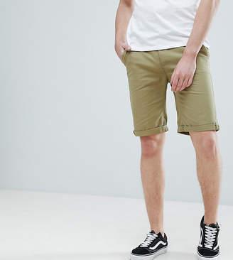 Bellfield TALL Slim Fit Chino Shorts In Khaki