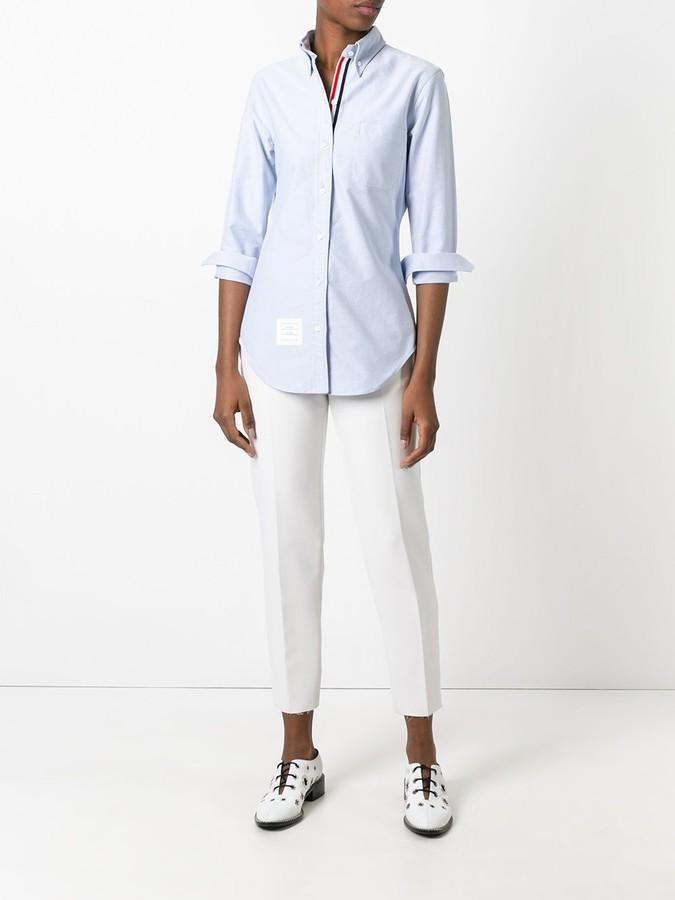 Thom Browne Long Sleeve Shirt Grosgrain Placket In Blue Oxford