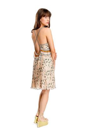 Max Studio printed mesh silk chiffon dress