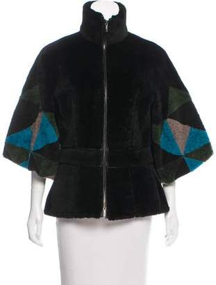 Fendi Geometric Shearling Zip-Up Jacket