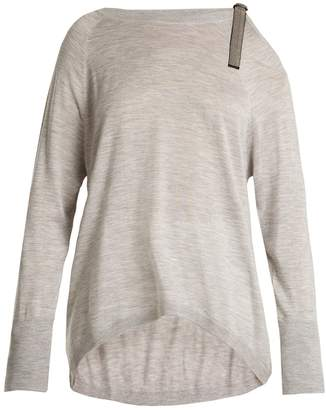 Brunello Cucinelli Cut-out shoulder cashmere-blend sweater
