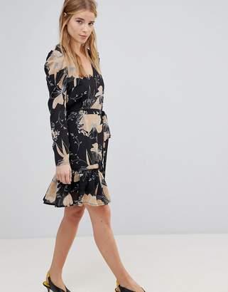 Parisian Floral Print Skater Dress With Tie Waist Belt