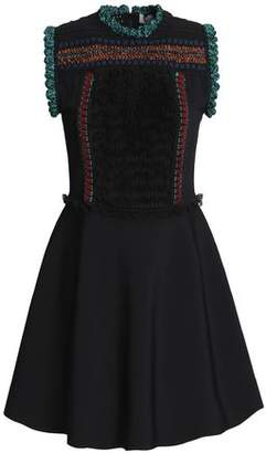 Valentino Embroidered Crochet-Knit And Ponte Mini Dress