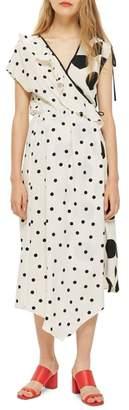 Topshop Mix Spot Midi Wrap Dress