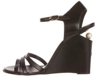 Chanel Embellished Wedged Sandals